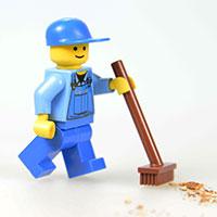 掃除するレゴの人